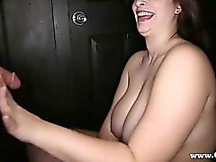 Gloryhole Secrets bbw goes to a gloryhole and sucks off complete strangers and swallows their cum