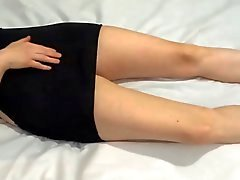 Amateur in black dress and heels masturbating to orgasm