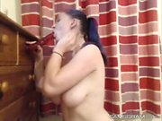 Stunning Busty Dumpster Plays With Her Pussy And Squirts