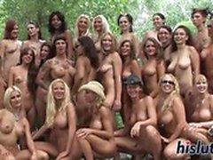 Numerous babes masturbate in public