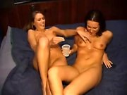 Teen lesbian hotties kiss and lick pussy outdoors