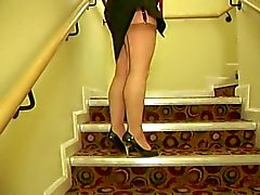 Seamed stockings in hotel