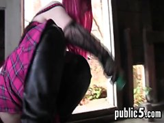 Goth Whore Masturbates Out In A Shack