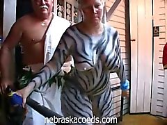 Horny chicks walk around in the streets naked