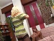 Blonde lisa in lingerie and swallowing a cock