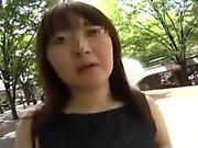Asian teen toys herself before sucking three cocks