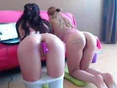 Lesbian anal toying