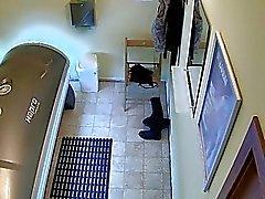 Short Haired Brunette Girl Spied in Private Solari
