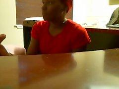 Ebony blowjob during job interview (REAL)