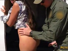 Hot amateur Latina arrested and banged on the border