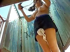 Hidden camera in beach changing area