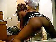 Hot ebony cam babe takes a 2ft long huge dildo