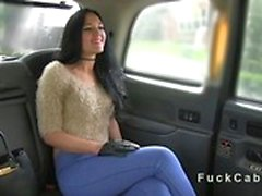 Naughty British amateur fucked in fake taxi