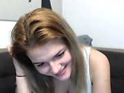 Hot real teen blonde girl strips and masturbates on webcam