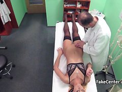 Doctor fucks black stockings babe in hospital