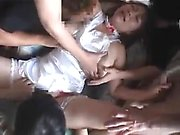 Asian babe cowgirl riding big white cock