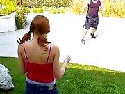 Guy stretches schoolgirl