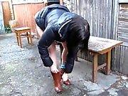 Russian girl peeing fountain