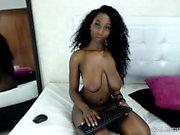Tasty Huge Natural Tits Ebony In Solo Masturbation