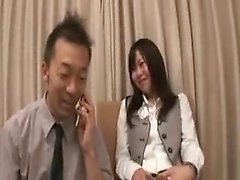Slim Japanese cutie with tiny boobs has two guys fulfilling