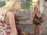 Cougar blonde and young slut share a long black tool