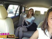 Female Fake Taxi Horny lesbians lick shaved wet pussy