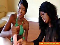 Nubian ebonies playing with a white dick