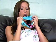 Brooke Skye smell dirty panties on Couch