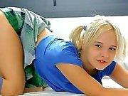 Cute teen Monroe in pigtails pleasuring