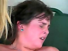Big-breasted blonde gets her twat worked while watching her friends fuck