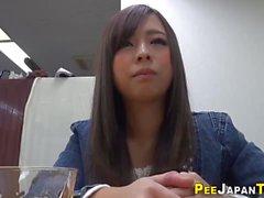 Japanese teen drinks pee