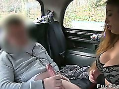 Huge tits British babe fucked and pussy cummed in fake taxi
