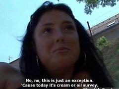cute brunette girl gets horny talking