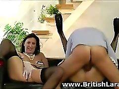 Older British guy fucks girl in stockings in front of wife