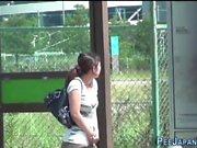 Asian skank pees outdoors