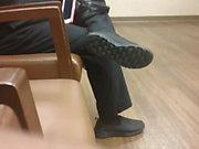 Candid Toe Wiggling in Black Sneakers
