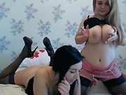 Corrupting blonde lesbian in stockings