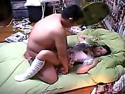Asian gal with a pretty pussy gets it drilled by a throbbin