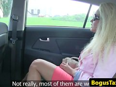 Euro taxi babe doggystyled on backseat