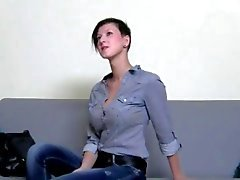 Horny brunette coed fucking on the chair