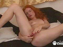 Redhead Barbara Barberue ass and pussy dildoing on couch