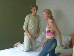 Gorgeous blonde in amateur teen threesome