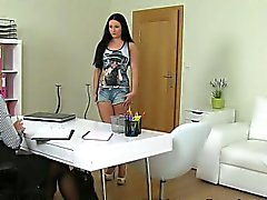 Long haired Czech amateur has lesbian casting
