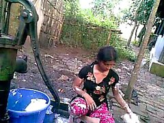 Bangla desi shameless village cousin Nupur bathing outdoor