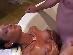 Brunette whore enjoys hardcore threesome