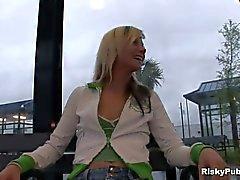 Sexy girl masturbating in public
