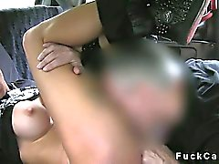Pretty busty amateur pierced pussy banged in fake taxi