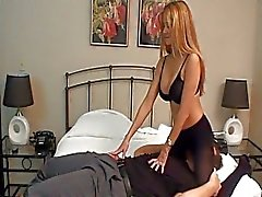 Naughty blonde with huge bazookas sits on guys face in bedroom