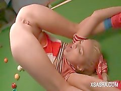Russian stunning blonde Sasha teasing her ass and pussy