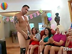Bitches lined up to suck a cock